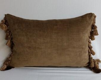RTS mocha brown velvet throw pillow, tassels, 16 x 10 inches lumbar upholstery weight cushion