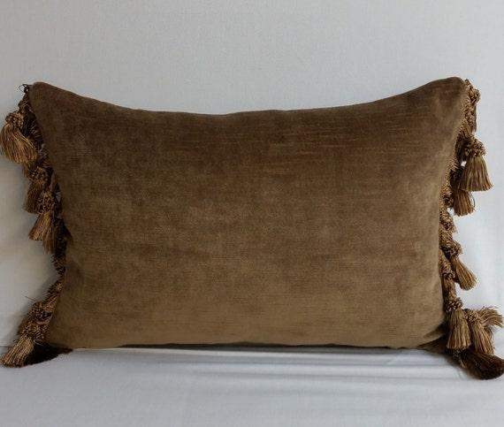 RTS mocha brown velvet throw pillow tassels 16 x 10 inches