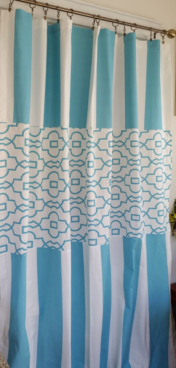 Extra Long Shower Curtain Two Tone Fabric Pattern Block