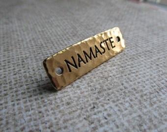 Gold Namaste Link, Antique Gold, Namaste Link, Namaste Bracelet Link, Word Beads, Words,