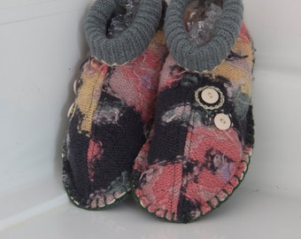 womens slippers upcycled wool sweater floral