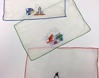20% Off SALE Coupon Code FAVORITE20 Vintage Madeira Hand Embroidered Novelty Fish With Martinis Cocktail Napkins Set Of 8