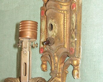 Antique Vintage Wall Sconce  - Art Deco Polychrome - Architecture - Restoration - Lighting - Hardware