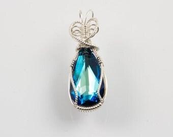 Austrian Crystal Bermuda Blue Briolette Argentium Wire Wrapped Pendant.