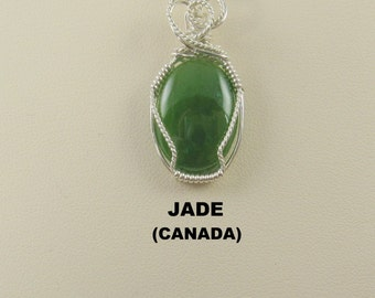 Jade Oval Cabochon Argentium Wire Wrapped Pendant.