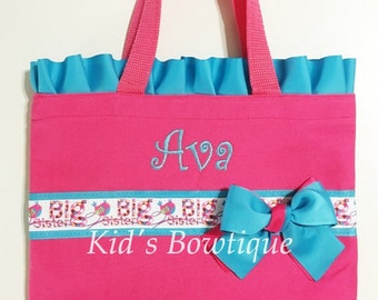 Big Sister Gift Bag - Ruffles and Bow Tote Bag with Big Sister Ribbon