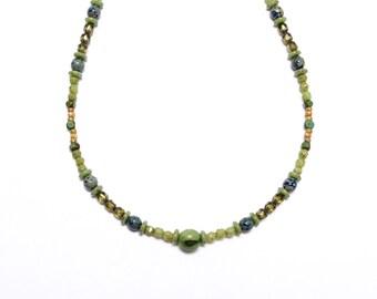 Beaded Choker, Handmade Necklace, Lime Green Necklace, Boho Necklace, Green Beaded Choker