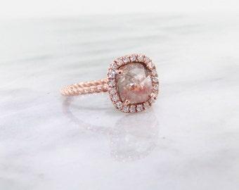 Geometric Dome Rough Diamond, Rose Gold, Halo