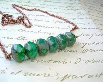 Copper Chain & Green Picasso Bead Necklace With Matching Earrings Irish Call
