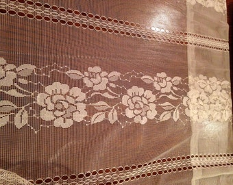Extra Wide Rosette Lace Panel Curtains