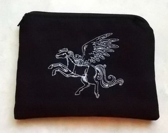 Pegasus Zippered Pouch, Embroidered, Christmas In July Sale