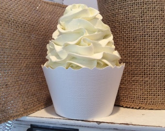 White Cupcake Wrappers Textured Finish Weddings Showers Birthdays