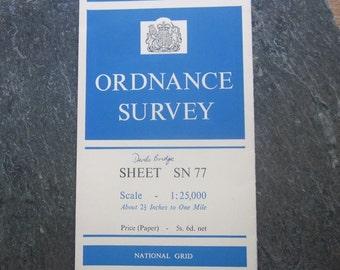 1960 Vintage Ordnance Survey Map of Devils Bridge