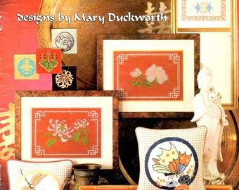 Classic Orientals Butterfly Dragonfly Mums Flowers Leaves Lotus Needlepoint and Counted Cross Stitch Embroidery Craft Pattern Leaflet 187