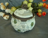 Ceramic Sugar Jar, Honey Pot, Jam Crock in White on White Poppies on Black Mountain