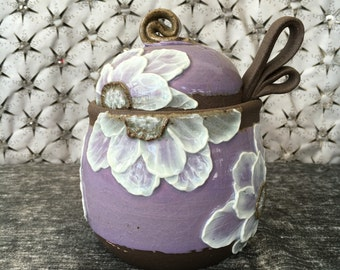 Ceramic Honey pot, Sugar Jar, Jam Crock with White Poppies on Lavender and Black Mountain