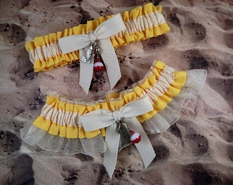 Fishing Daffodil Yellow Linen Look Ivory Twill Ivory Organza Fish Bobber Charm Wedding Bridal Garter Toss Set