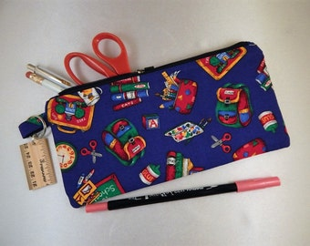 Royal Blue Red Print Zipper Pull Ready to Ship School Supply  Cosmetic Organizer Bag Case