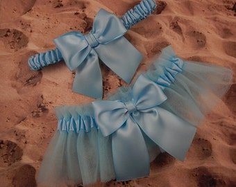 Light Blue Satin Light Blue Tulle Bridal Wedding Garter Toss Set