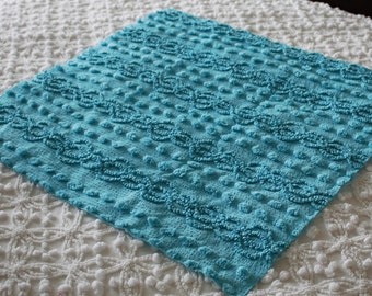 Pretty Turquoise Vintage Chenille Fabric - 21 X 21 in