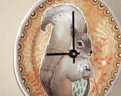 NEW!  Cute Squirrel Wall Clock 7-3/4 Inches SILENT, Nursery Decor, Rustic Woodland Animal Decor, Squirrel Clock, Child Bedroom Clock - 2114