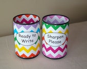Rainbow Chevron Desk Accessories, Pencil Holder Set, Tin Can Pencil Holder with Labels, Classroom Organization, Teacher Gift   921