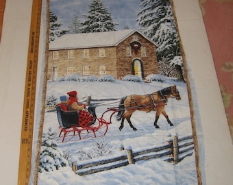 Sewing Panel Christmas Banner Fabric Sleigh Ride Supply Wall Hanging Cheater Quilt Holiday Winter Traditional Snow Horse Jingle Bells
