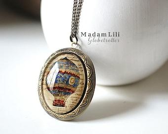 World Traveller Locket Necklace in Vintage Style