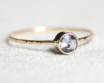 Delicate Natural Tanzanite Solid 14k Rose or White or Yellow Gold Stacking Ring - Dainty Sparkling Thread of Gold - December Birthstone