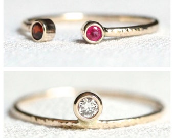 Select a Gold - Natural Diamond & Birthstone Ring Set - Solid 14k Gold Open Cuff and Offset Unique Wedding Set - Rose or White or Yellow