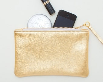 Gold Leather Wristlet, Gold Leather Clutch, Cell Phone Wristlet, Gold Evening Clutch, Gold Bridal Clutch, Wedding Clutch, Bridesmaid Clutch