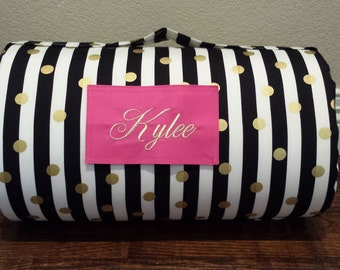 MONOGRAMMED Childrens THICK COMFY Nap Mat PreSchool Black White Gold Polka Dots has Attached Dotted Pink Cuddle Minky Blanket and Pillow