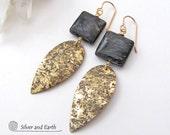 Gold Leaf Earrings, Agate Earrings, Gold Dangle Earrings, Brass Earrings, Brown Stone Earrings, Handmade Earthy Natural Modern Jewelry