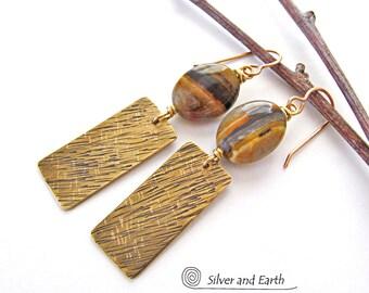 Brass Earrings, Tiger Iron Earrings, Natural Stone Earrings, Earthy Earrings, Handmade Jewelry, Brown Stone Earrings, Gold Dangle Earrings