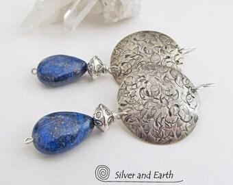 Sterling Silver Lapis Earrings, Lapis Lazuli Jewelry, Sterling Silver Earrings, Handmade Artisan Silver Jewelry, Blue Gemstone Earrings