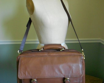 Brown Leather Briefcase / Laptop Bag
