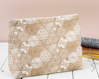 Hexies Taupe Toiletry Bag, hand drawn doodles cosmetic bag, large zip pouch