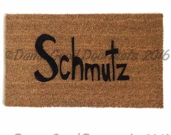 Handwritten style Jewish Judaica yiddish Schmutz doormat entrance rug