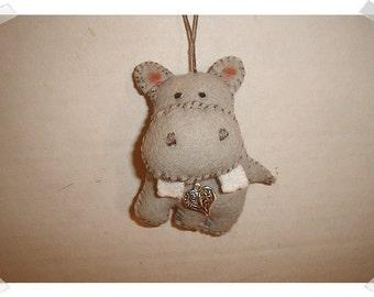 Hippo Ornament/ Felt /Handmade**/MADE to ORDER*