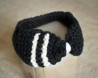 Black and White Knit Headband, Women Headband, Ear Warmer, Winter Headband, Chunky Knit Women Turban, Boho Headband, Christmas Gift for Her
