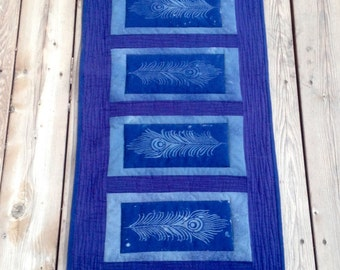 Beautiful Blue Artisan Made Discharge Dyed Hand Quilted Peacock Feather Long Table Runner/ Table Topper/ Dresser Scarf