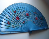 Vintage Large Blue Turquoise Hand Painted Spanish Flamenco Hand Fan Abanicos Flowers Floral