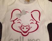 Call Me Arkansas Razorbacks Hog Pig Girl Infant Onsie Glitter Tee shirt officially licensed with the University of Arkansas