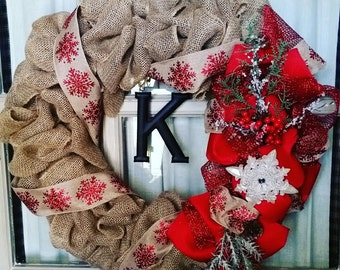 Christmas Burlap Wreath with initial