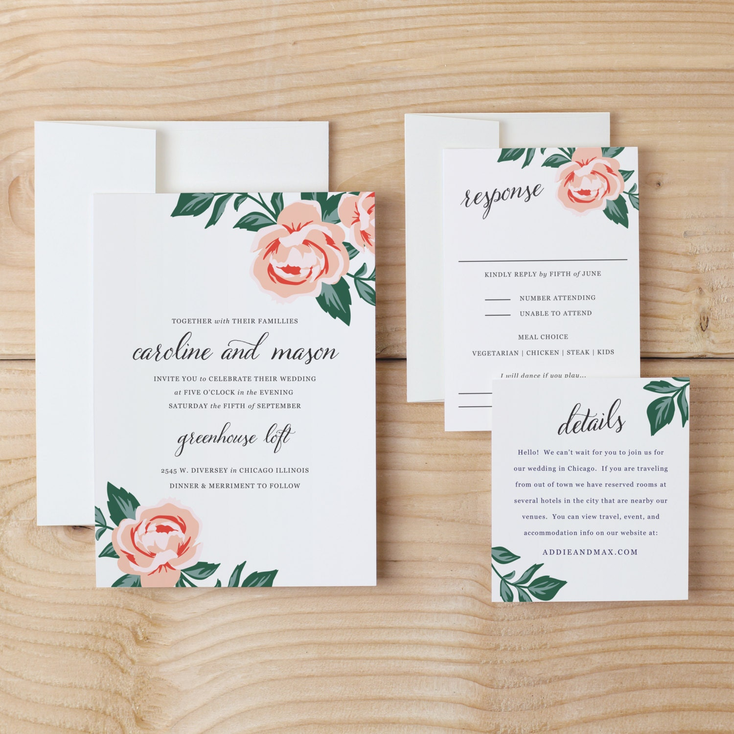 Diy wedding invitation template colorful floral word or pages diy wedding invitation template colorful floral word or pages mac or pc change the colors text print at home instant download stopboris Images