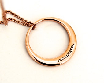 Rose Gold Washer Necklace, Stainless Steel Jewelry, Roman Numerals Necklace, Low Allergen Jewelry, Australian Jewellery, Gift For Her