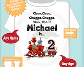 Birthday Boy Shirt - 2nd Birthday Train Shirt, Personalized Boys Second Birthday Shirt with Child's Name and age 01052016f