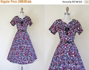 ON SALE 40s Dress - Vintage 1940s Dress - Purple Grey Cocoa Floral Full Skirt Rhinestones Dress S - Forever Young