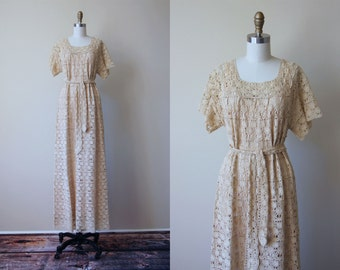 70s Dress - Vintage 1970s Dress - Spider Web Crochet Knit Ivory Hippie Wedding Maxi Dress Belt and Slip Set - Cobweb Queen Dress Set