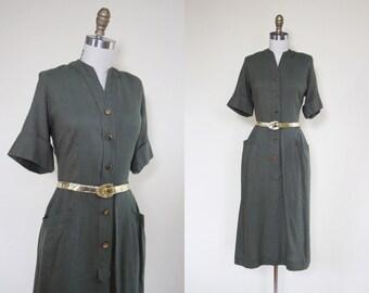 50s Dress - Vintage 1950s Dress - Olive Green Linen Rayon Day Dress L - Sorority Circle Dress